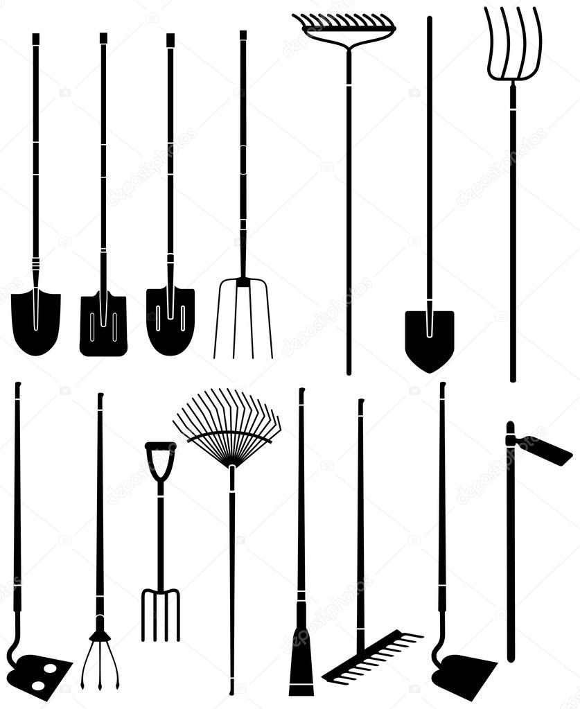 Good Silhouette Set Of Long Handled Gardening Tools U2014 Vector By Mannaggia