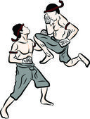 Photo Hand drawn Thai martial arts and muay thai boran