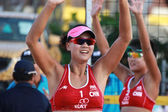 PHUKET, THAILAND NOVEMBER 3: Chen Xue and Xinyi Xia of China celebrate gold medal winners at the SWATCH FIVB World Tour 2013 on November 3, 2011 at Karon Beach in Phuket, Thailand