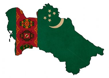 Turkmenistan map on  flag drawing ,grunge and retro flag series