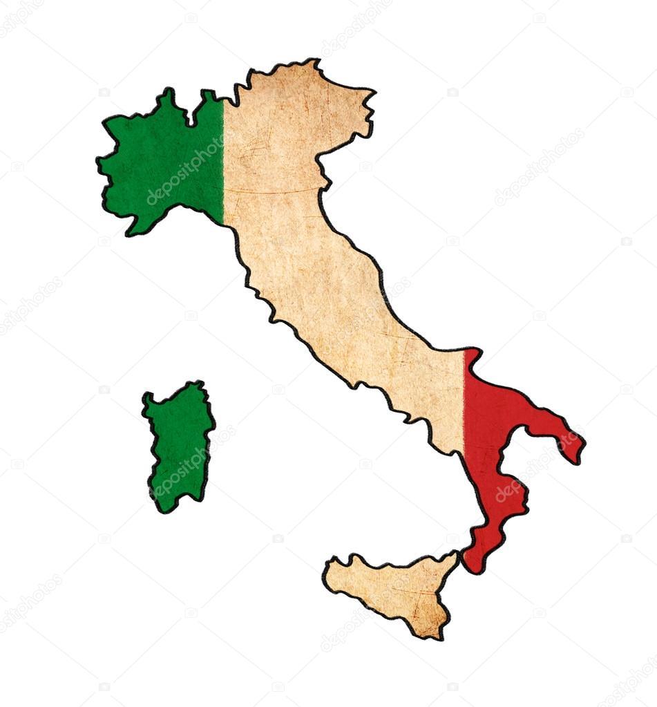 mapa de Italia en Italia bandera bandera retro series, grunge y