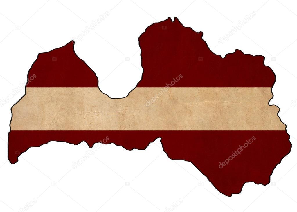 mapa da letónia na letónia bandeira desenho grunge e retrô bandeira