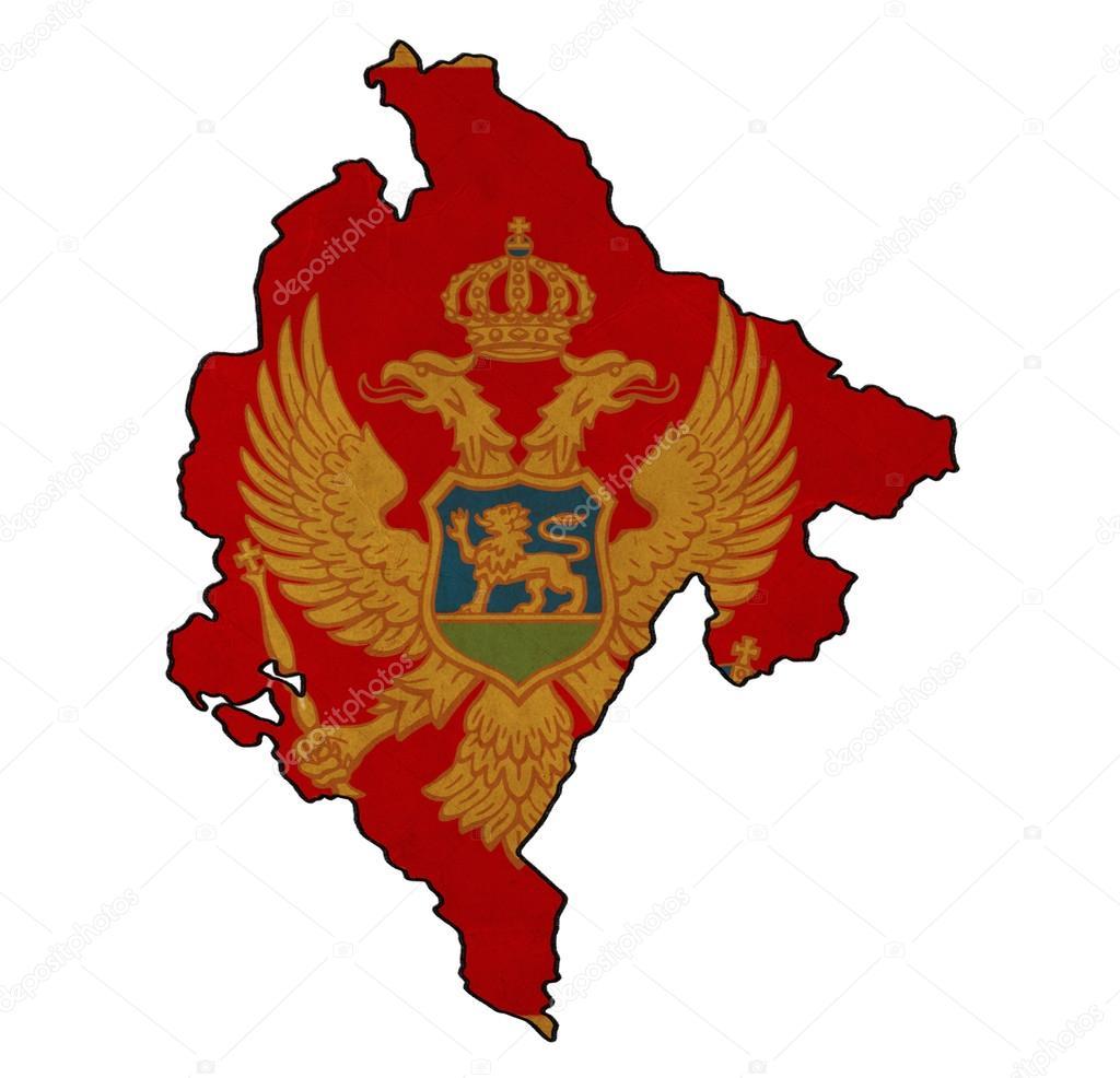 Montenegro Map On Montenegro Flag Drawing Grunge And Retro Flag - Montenegro map download