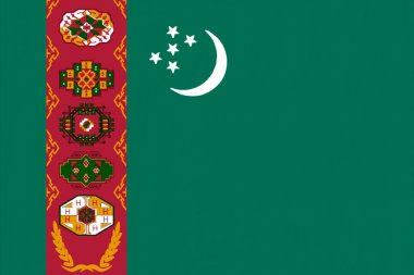 Turkmenistan flag drawing by pastel on charcoal paper