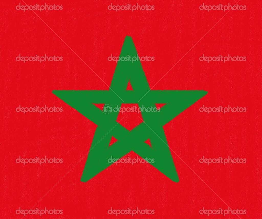 marokko vlag tekening door pastel op houtskool papier