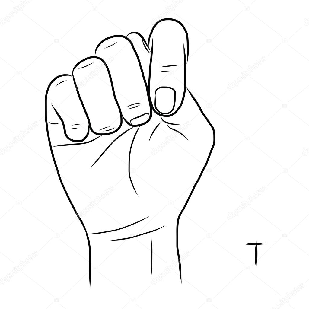 Sign Language And The AlphabetThe Letter T Stock Vector