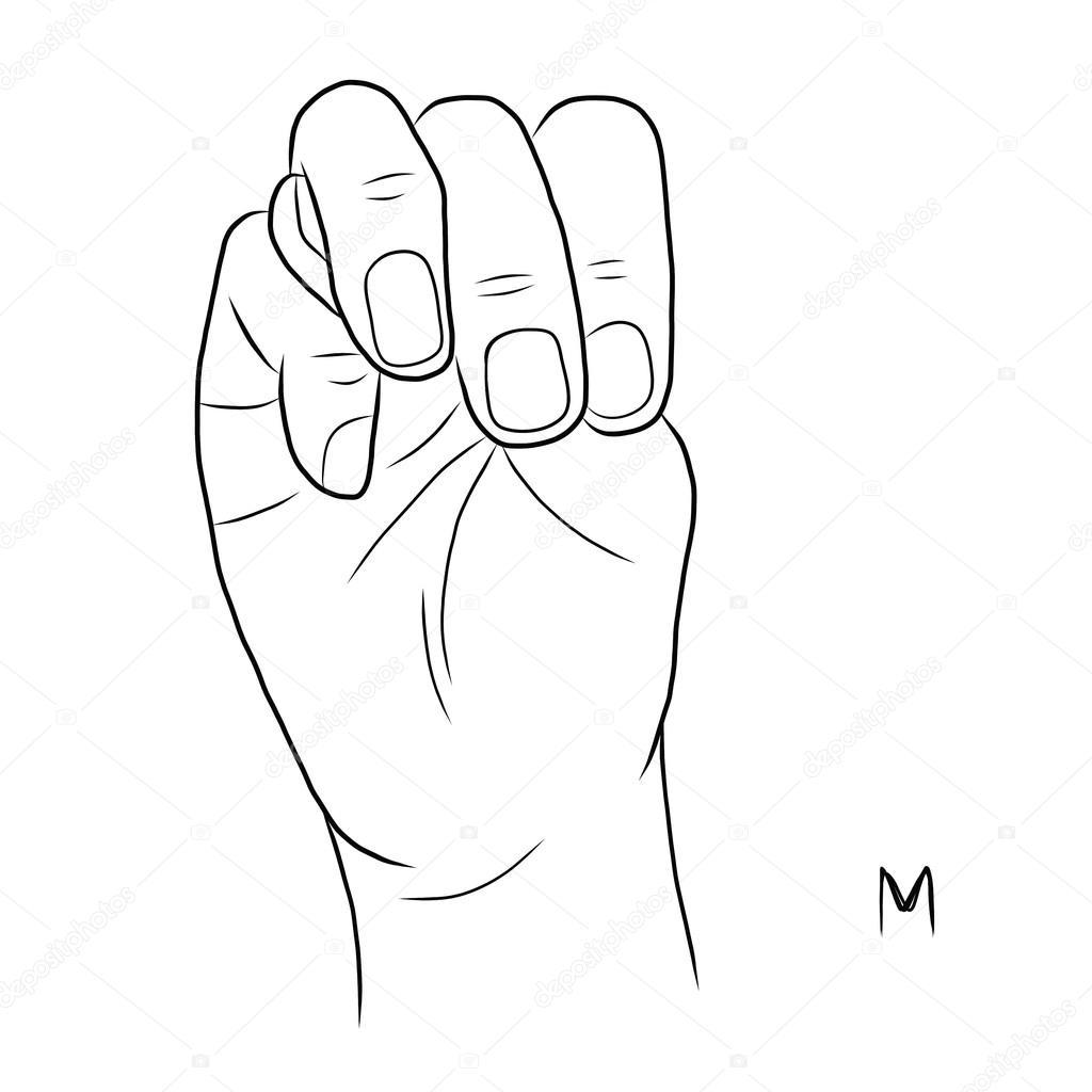 lenguaje de señas y el alfabeto, la letra m — Archivo Imágenes ...