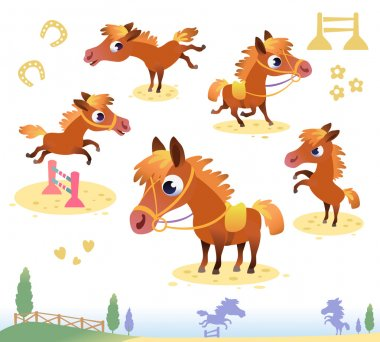 Set of bay horses