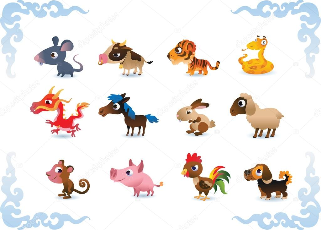 Vector animals - symbols of chinese horoscope