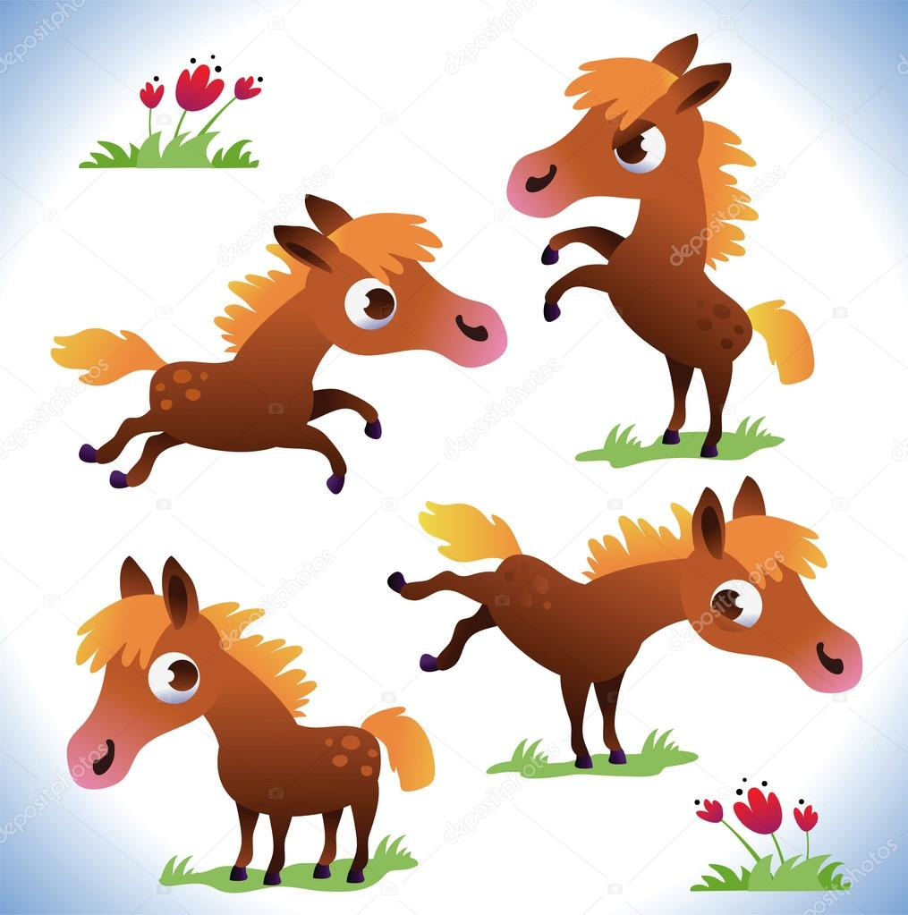 Jeu de poney mignon dessin anim image vectorielle caramelina 12765604 - Dessin anime avec des poneys ...