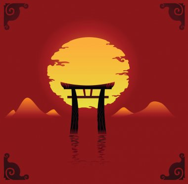 Vector illustration of abstract japan background