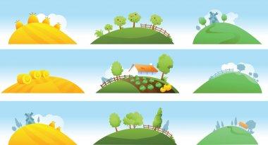 Set of farm landscapes