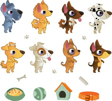 Set of cartoon dog breeds