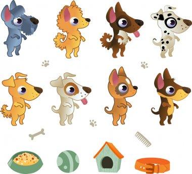 Set of cartoon dog breeds