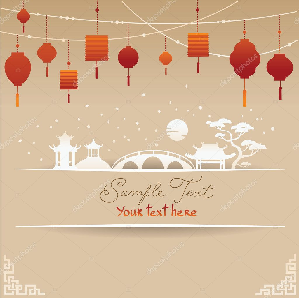 Decorative Chinese Background with Red Lamp and Snow