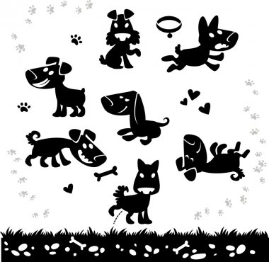 Collection of cartoon dogs silhouette. Vector.