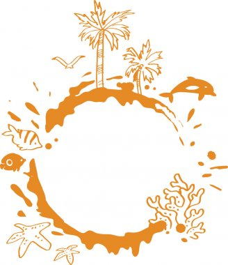 Beach Illustration With Tropical Palm Trees, Fish and Splash clip art vector