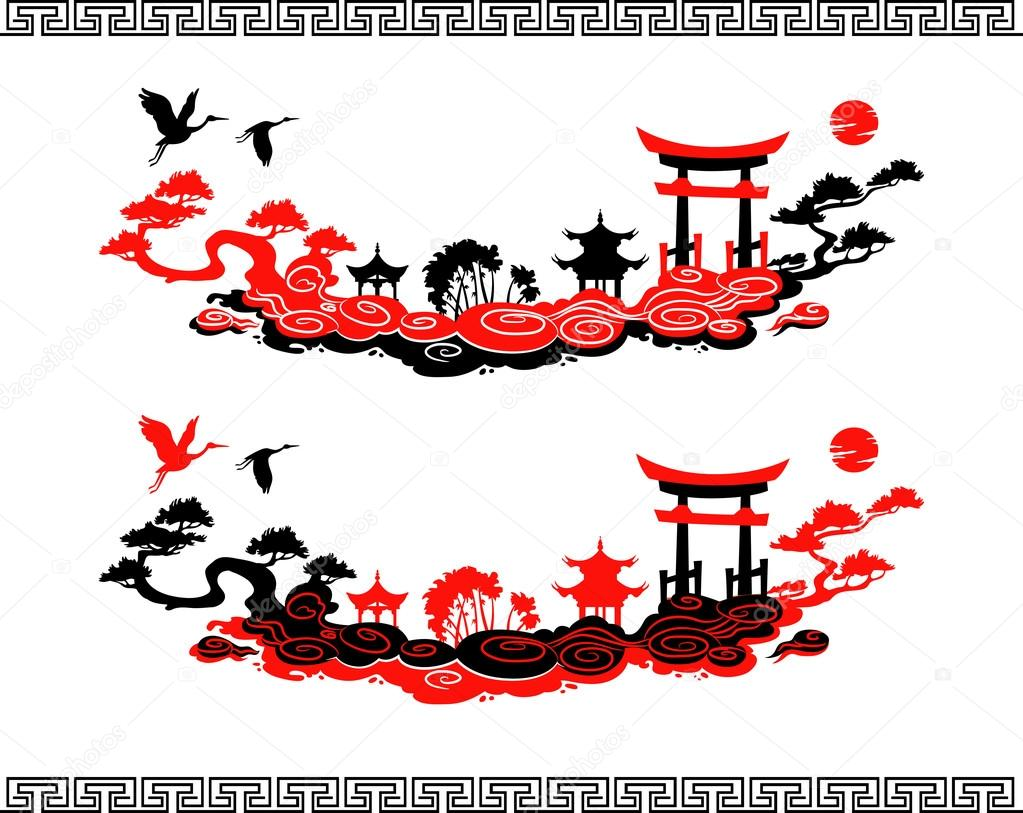 Set of Vector Chinese Landscapes