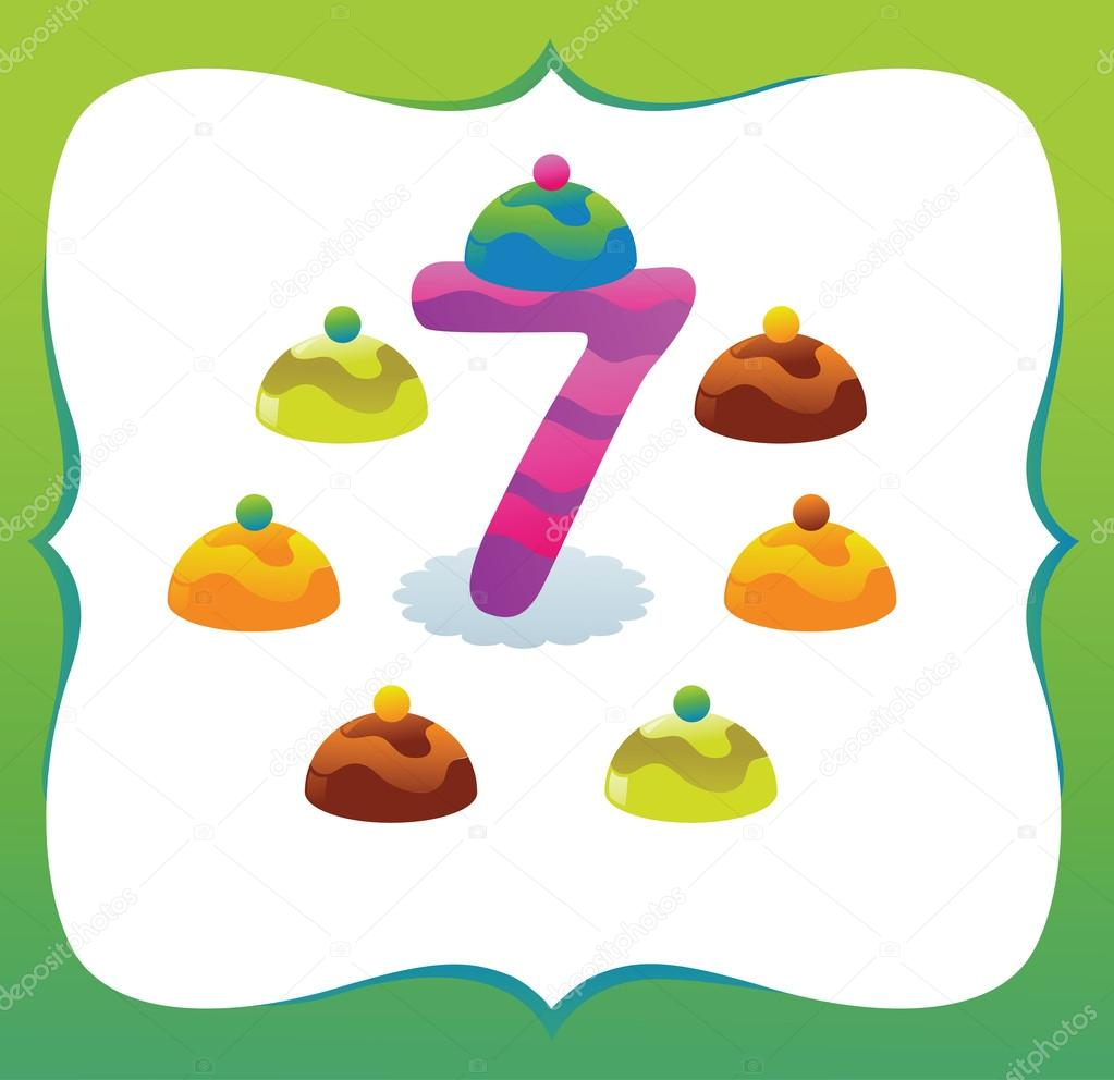 collection sweet numbers for kids 7 u2014 stock vector caramelina