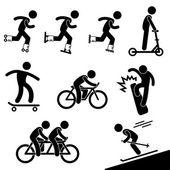 Korcsolyázás és lovaglás tevékenység ikon szimbólum jel piktogram