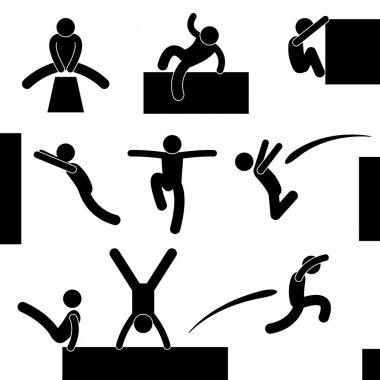 Parkour Man Jumping Climbing Leaping Acrobat Icon Symbol Sign Pictogram