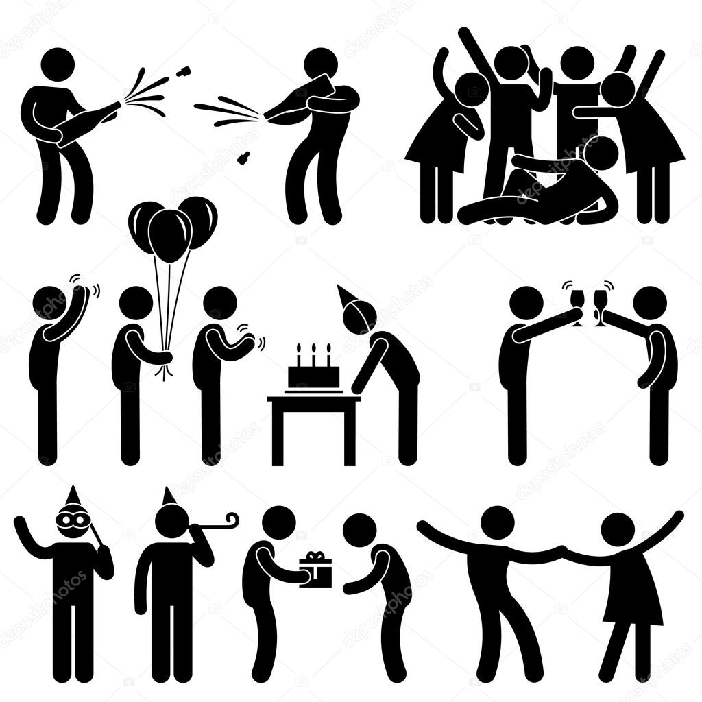 Friend Party Celebration Birthday Icon Symbol Sign Pictogram