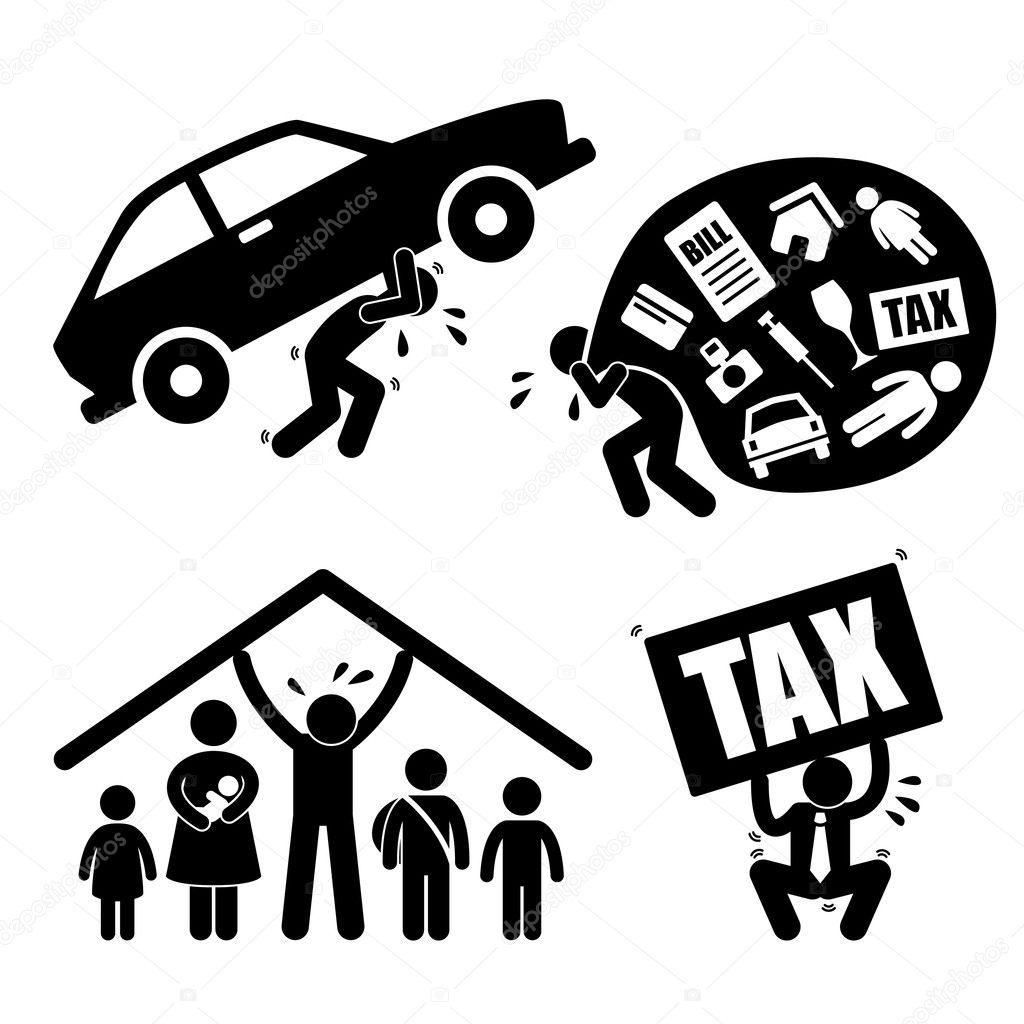 Man family financial problem burden stress pressure depression a set of pictograms representing financial problem and burden of a man vector by leremy buycottarizona