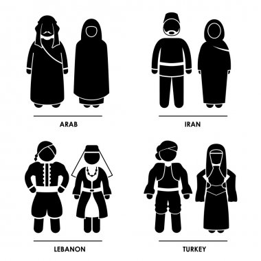 West Asia - Arab Iran Lebanon Turkey Man Woman National Traditional Costume Dress Clothing Icon Symbol Sign Pictogram