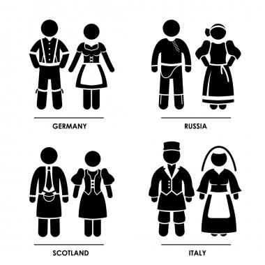 Europe - Germany Russia Scotland Italy Man Woman National Traditional Costume Dress Clothing Icon Symbol Sign Pictogram