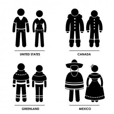 North America - United States Canada Greenland Mexico Man Woman National Traditional Costume Dress Clothing Icon Symbol Sign Pictogram