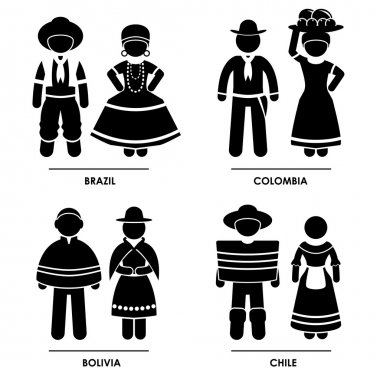 South America - Brazil Colombia Bolivia Chile Man Woman National Traditional Costume Dress Clothing Icon Symbol Sign Pictogram