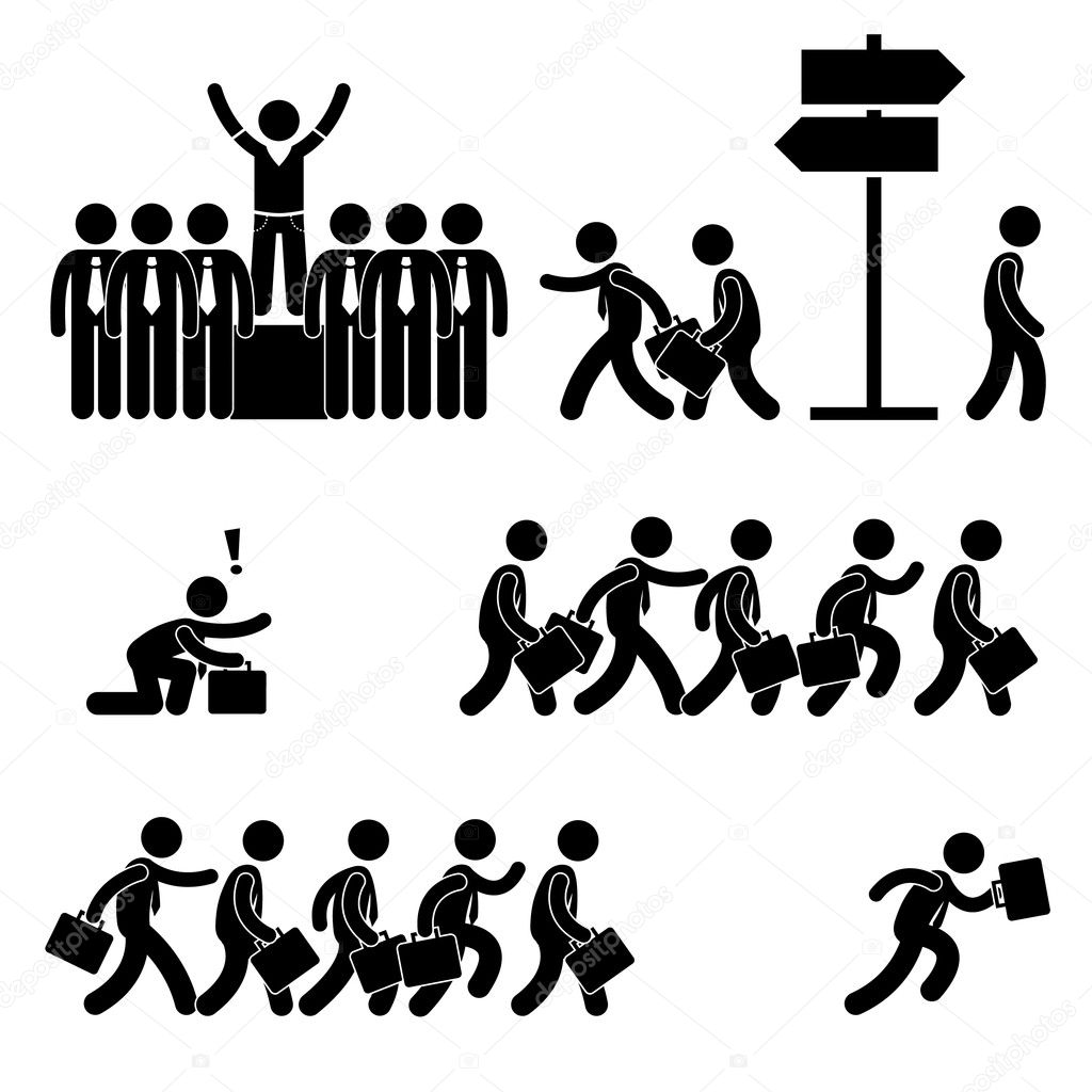 Standing Out of the Crowd Successful Business Competition Career Stick Figure Pictogram Icon