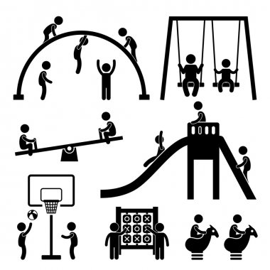 A set of pictogram representing a children playground. stock vector