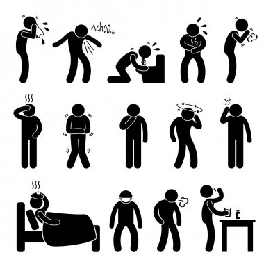 A set of pictogram representing sick with symptom such as sneeze, cough, vomit, diarrhea, cough, hedache, dizzy, cold, flu, and fatigue. stock vector