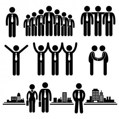 Business Businessman Group Worker Stick Figure Pictogram Icon