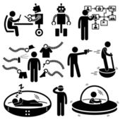 People of the Future Robot Technology Stick Figure Pictogram Icon