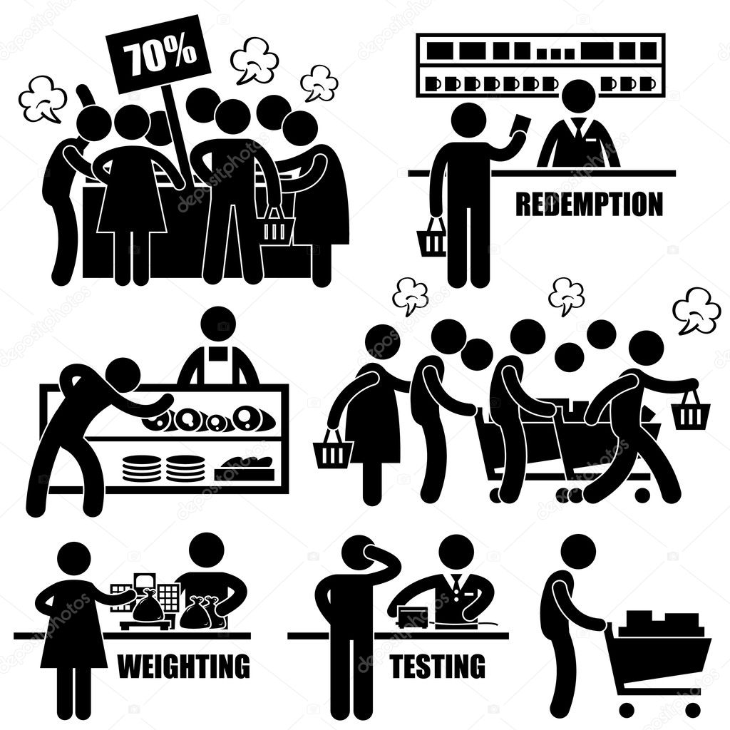 Supermarket Market Shoppers Crazy Rushing Shopping Promotion Man Stick Figure Pictogram Icon