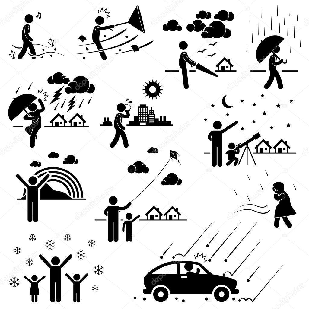 Weather Climate Atmosphere Environment Meteorology Season Man Stick Figure Pictogram Icon