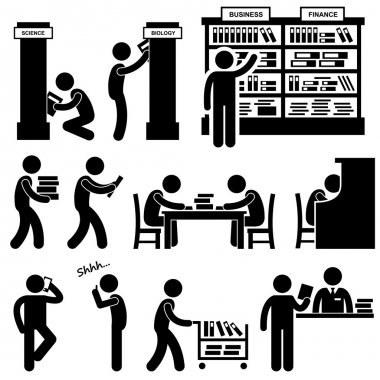 Library Librarian Bookstore Student Pictograms