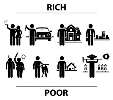 Rich and Poor Man Financial Differences Concept Stick Figure Pictogram Icon