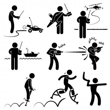 Playing with Outdoor Toys Remote Control Car Plane Helicopter Ship Water Gun Jumper Boomerang Stick Figure Pictogram Icon