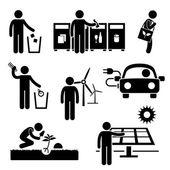 Fényképek Az ember újra feldolgoz zöld környezet energia megtakarító pálcikaember piktogram ikon