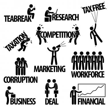 Business Finance Businessman Entrepreneur Employee Worker Team Text Word Stick Figure Pictogram Icon