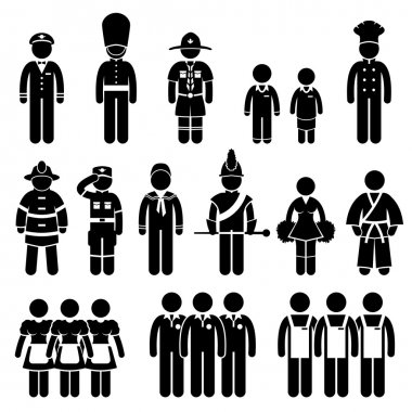 Uniform Outfit Clothing Wear Captain Scout Guard Student Chef Fireman Soldier Army Sailor Trainee Employee Worker Staff Stick Figure Pictogram Icon