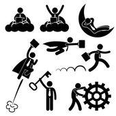 Geschäftsmann Arbeitskonzept erfolgreich entspannend glücklich Strichmännchen Piktogramm Symbol