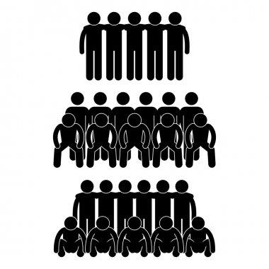 Man Team Group Teammate Teamwork Partner United Stick Figure Pictogram Icon