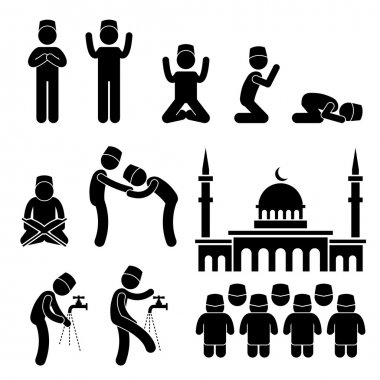 A set of pictogram representing the of Muslim praying and practicing their tradition and culture. stock vector