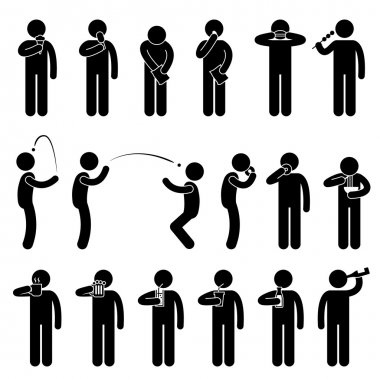 Man Eating Tasting Food and Drink Stick Figure Pictogram Icon