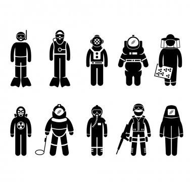 Scuba Diving Dive Deep Sea Spacesuit Biohazard Beekeeper Nuclear Bomb Airforce SWAT Volcano Protective Suit Gear Uniform Wear Stick Figure Pictogram Icon