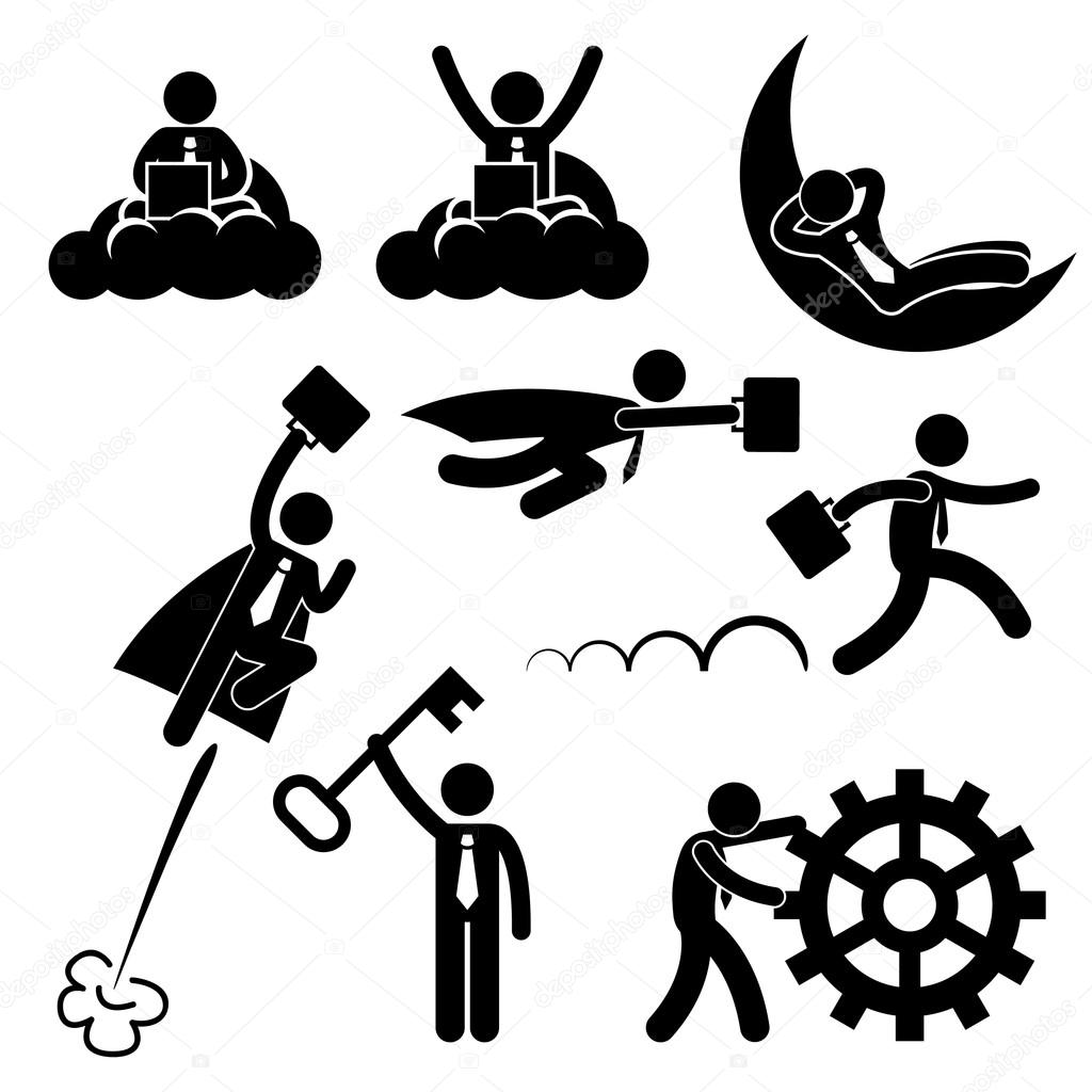 Business Businessman Working Concept Successful Relaxing Happy Stick Figure Pictogram Icon